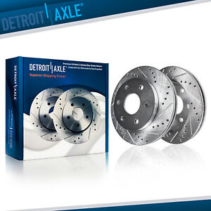 Front 2007 2019 Chevy Gmc Silverado Sierra 1500 Drilled Slotted Rotors Set