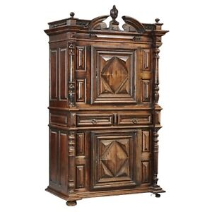 Large French Louis Xiii Style Carved Walnut Cabinet Or Armoire 19th C 1800s