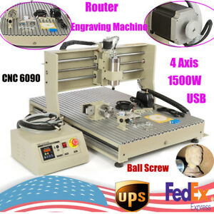 1500w 4 Axis Cnc Router Engravering Machine Metal Wood Acrylic 6090 Ball Screw