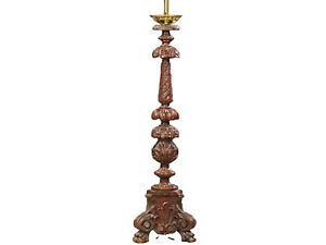 Carved Mahogany Table Lamp Early 1900s