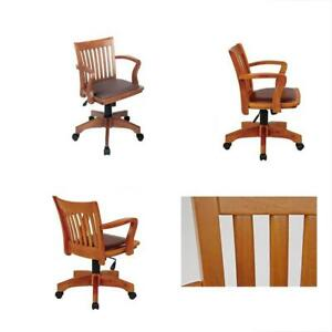 Deluxe Wood Bankers Desk Chair With Brown Vinyl Padded Seat Fruit
