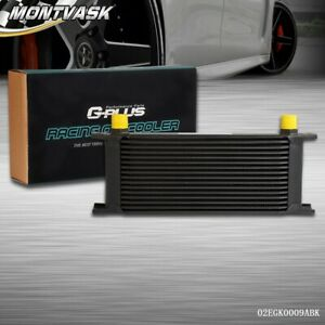 Gplus 16 Row Universal An10 Engine Transmission Oil Cooler Black