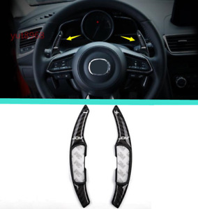 2x Carbon Fiber Steering Wheel Paddle Shifter Extension For Mazda 3 Axela 17 18