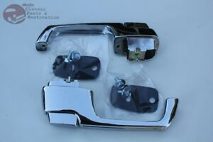 67 72 Chevy Truck Outside Exterior Outer Chrome Push Button Door Handle Set Pair