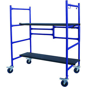 Roll And Fold Mini Scaffolding Foldable Height Steel Deck Boards Nonslip 500lb