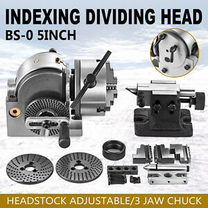 Bs 0 Dividing Head Set W 5 3 Jaw Chuck Tailstock Milling Horizontal Indexing