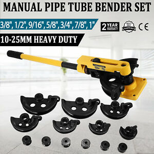 Manual Pipe Tube Bender Set 3 8 1 2 9 16 5 8 3 4 7 8 1 W Dies Local
