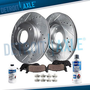 Front 2003 2008 Saturn Ion G5 Drilled Slotted Rotors Ceramic Brake Pads