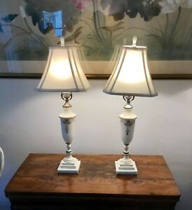 Antique Country French Hand Painted Opaline Lamp Set With Bakelite Finials