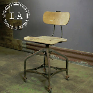 Vintage Industrial Toledo Uhl Adjustable Machinist Stool
