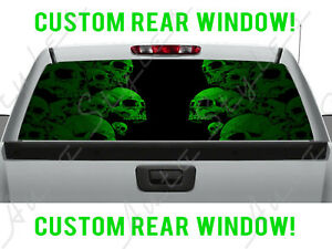 Skull Art Goth Rear Ford Gmc Dodge Chevy Pickup Truck Perforated Window Decal