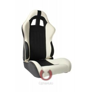 Cipher Auto White And Black Leatherette Universal Racing Seats Pair New