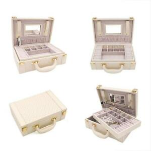 Jewelry Boxes Multifunctional Two layer Woven Leather Organizer With Gift New
