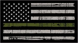 Thin Green Line Military American Flag Distressed Vinyl Decal Car Window Sticker