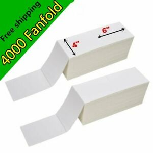 4000 Fanfold 4 X 6 Direct Thermal Shipping Barcode Labels Zebra 2844 Usps Ups
