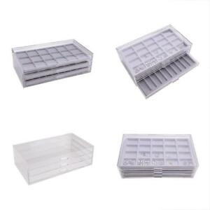 Jewelry Trays Acrylic Drawers Organizer Display Chest With Gray Compartment Made
