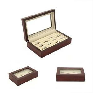 Cabinets Cases Ring Storage Box Display Wood Rows Glass Window burlwood Gift