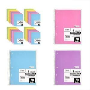 Stationery Spiral Notebook College Ruled Subject Assorted Colors 24 Pack