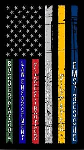 Thin Blue Gold Red Silver Police Military Corrections Line American Flag Decal