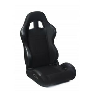 Cipher Auto Black Fabric W Leatherette Accents Universal Racing Seats Pair New