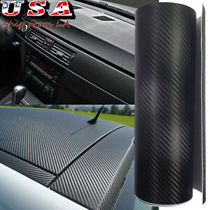 Carbon Fiber Texture Black Vinyl Car Wrap Sticker Interior Decal Film Sheet