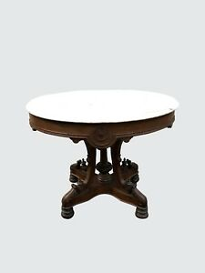 Large Victorian Marble Top Antique Parlor Table In Black Walnut Highly Desirable
