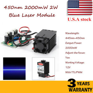 Focusable Ttl 2w 2000mw 450nm Blue Laser Module Engrave Cutter Engraving Us Ship