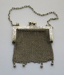 Victorian Art Nouveau Ladies Sterling Coin Purse With Chain Circa 1890 1910