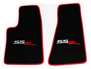 New Black Front Floor Mats 2003 2004 Chevy Ssr Embroidered Logo Red Binding