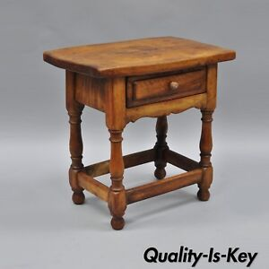 Small Antique Pine Wood One Drawer Side Table Work Stand Country Primitive