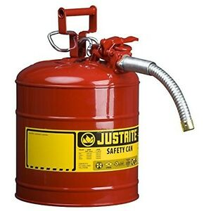 Steel Gas Can 5 Gallon Galvanized Flexible Spout Size Osha Nfpa Safety
