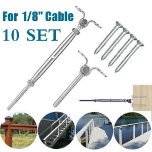 T316 Stainless Steel Tensioner Set Cable Railing W deck Toggle 1 8 Screws