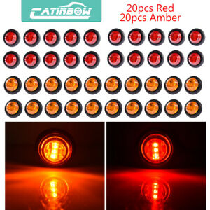 40x 3 4 Inch Amber Red Led Clearance Marker Light Lamp Bullet Trailer Truck 12v