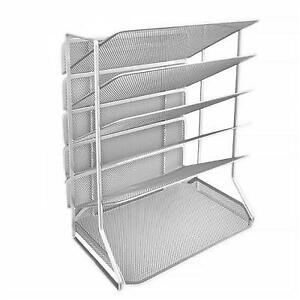Seville Classics 6 tray Iron Mesh Office Vertical Desktop wall Mount Organizer