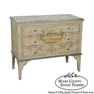 Adams Style Hand Painted Marble Top Chest Of Drawers