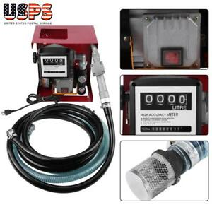 110v Electric Oil Fuel Diesel Gas Transfer Pump W meter 13 Hose Manual Nozzle