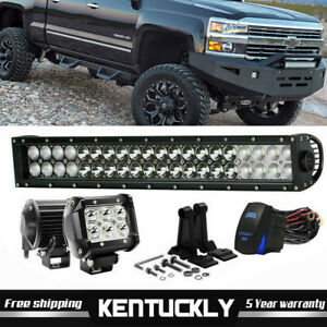 22 24 120w Led Work Light Bar Offroad Boat Lamp Spot Flood Combo 2x 18w Pods