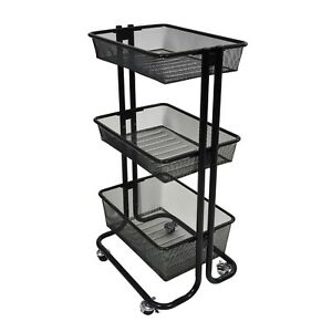 Kitchen Utility Cart With Caster Wheels Rolling Garage Tools Serving Basket Tray