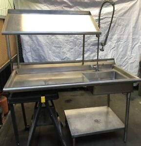 Commercial Kitchen Stainless Steel Sink Counter Table Shelf W Faucet Sprayer