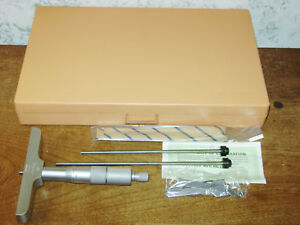 Mitutoyo 0 4 Inch Depth Micrometer Set No 129 131 W Case Lot A