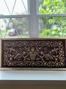 Ottoman Hand Made Embroidery With Gold Thread On Velvet