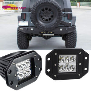 Rear Bumper Pair Flush Mount Led Work Light 4inch For 07 18 Jeep Wrangler Jk