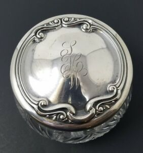 Lg Sterling Powder Jar Art Nouveau Vanity Dresser Antique Newburyport Silver Co