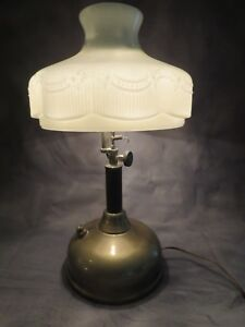 Vintage Electrified Steampunk Brass Tilley Lamp W Heavy Milk Glass Shade