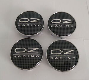 Oz Racing Custom Wheel Center Caps Black Fiber Chrome Logo C84101 Set 4