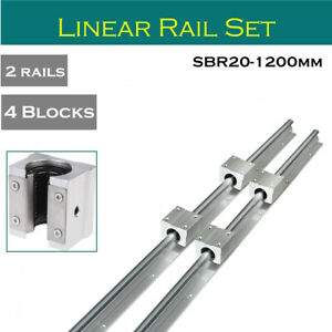 2pcs Sbr20 1200mm Fully Supported Linear Rail 4x Sbr20uu Slide Block Bearing