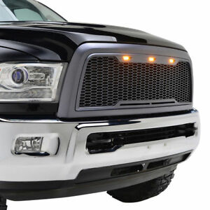 2013 2018 Dodge Ram 2500 3500 Grille Raptor Style With Shell Amber Led Gray Abs