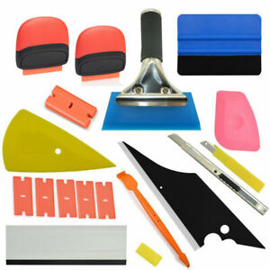 Car Window Tint Film Wrapping Vinyl Felts Squeegee Carbon Fiber Tools Kit Us