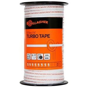 Gallagher G623544 Electric Fence1 2 inch Turbo Tape 656 feet White