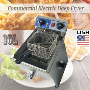 Hot 1700w 10l Stainless Steel Commercial Electric Deep Fryer Cooker Restaurant